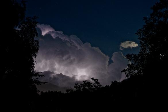 Blixt i moln och träd